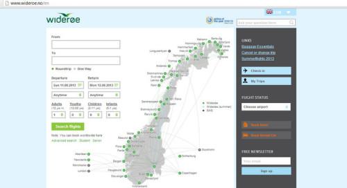 Die Buchungsmaske von www.wideroe.no - Auch in Englisch aufrufbar