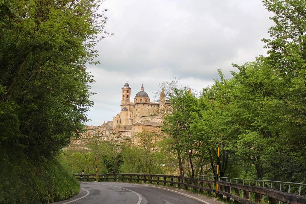Anfahrt auf Urbino mit Blick zum Dom und Palast