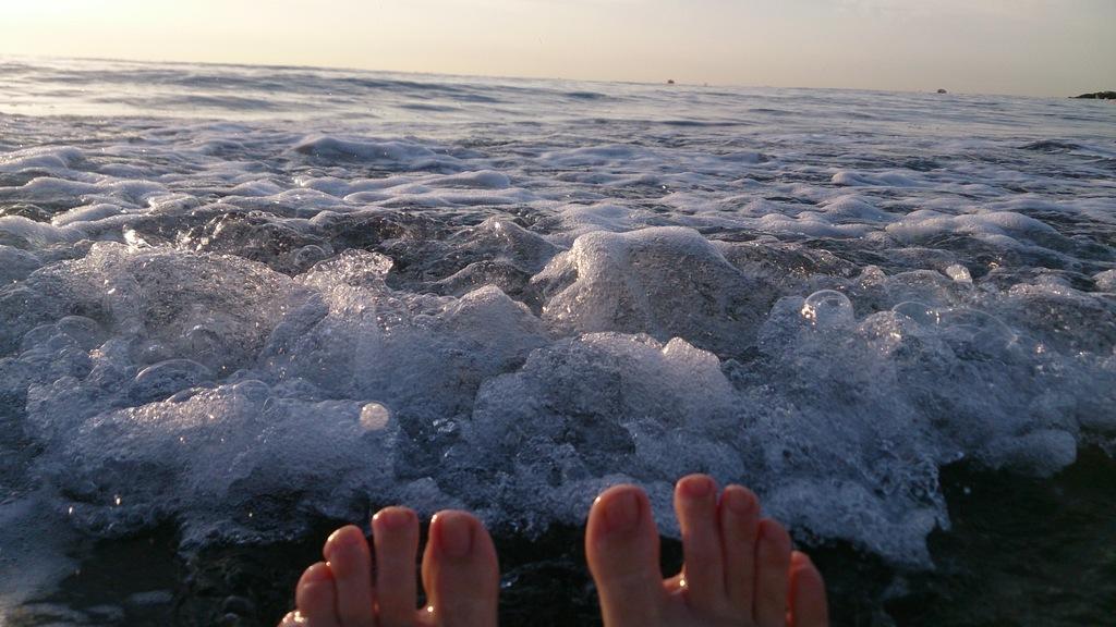 Morgens um halb sieben baden im Meer!